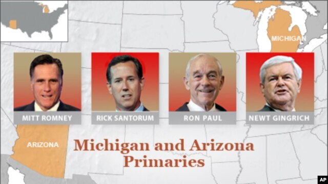 Romney, Santorum Showdown Expected in Michigan Tuesday