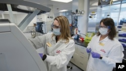 FILE - In this May 2020 photo provided by Eli Lilly, researchers prepare cells to produce possible COVID-19 antibodies for testing in a laboratory in Indianapolis. The drug company says it has asked the U.S. government to allow emergency use of an experim