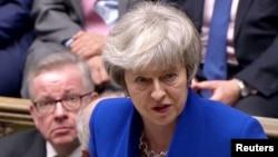Thủ tướng Anh Theresa May phát biểu sau khi vượt qua được cuộc bỏ phiếu bất tín nhiệm ngày 16/1/2019.