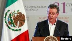 FILE - Mexico's central bank Governor Alejandro Diaz de Leon Carrillo gives a speech in Acapulco, Mexico, March 8, 2018.