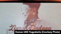 Mahfud MD menyampaikan orasi budaya dalam acara Ziarah Budaya Sewindu Haul Gus Dur, di Universitas Sanata Dharma, Yogyakarta, Senin, 5 Februari 2018. (Foto: Humas USD Yogyakarta)