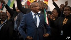 Jacob Zuma lors d'un sommet de l'Union africaine, le 14 juin 2015 à Johannesburg. (AP Photo/Shiraaz Mohamed)