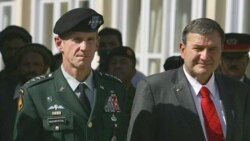 General Stanley McChrystal with Ambassador Karl Eikenberry at a memorial ceremony in Kabul last fall
