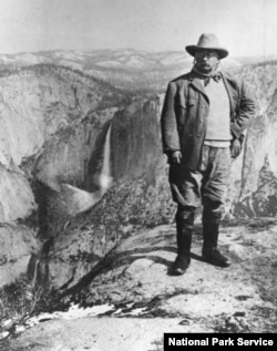 President Theodore Roosevelt at Glacier Point in Yosemite National Park, California, 1903. He was the first U.S. President to create national monuments under the 1906 Antiquities Act.