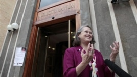 Karen King, a professor at Harvard Divinity School, is interviewed outside the Augustinianum institute in Rome, where an international congress on Coptic studies is being held, Sept. 19, 2012.