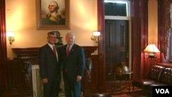 Američki dopredsjednik Joe Biden i premijer Kosova Hašim Thaci nakon jučerašnjeg sastanka u Bijeloj kući