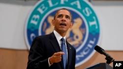 美國總統奧巴馬星期一在貝爾法斯特對年輕的聽眾發表講話