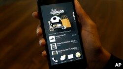 FILE - A photo shows an app that links to online retailer Amazon.com on an Amazon Fire Phone, in Seattle, Washington, June 18, 2014.