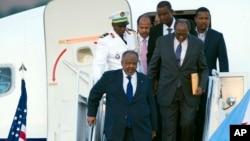 Le président Djiboutien, Ismaël Omar Guelleh à son arrivée à Washington le 3 août 2014. (AP Photo / Cliff Owen)