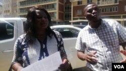 Sheffra Dzamara and a member of the Zimbabwe Lawyers for Human Rights outside President Emmerson Mnangagwa's office in Harare. (Photo: Mlondolozi Ndlovu)
