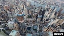 鸟瞰纽约曼哈顿下城(资料图)。2012年纽约的联邦检察官曾扫荡曼哈顿唐人街和皇后区法拉盛的律师事务所。