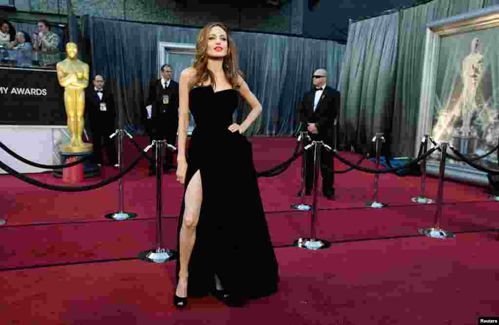February 26: Actress Angelina Jolie poses at the 84th Academy Awards in Hollywood, California.