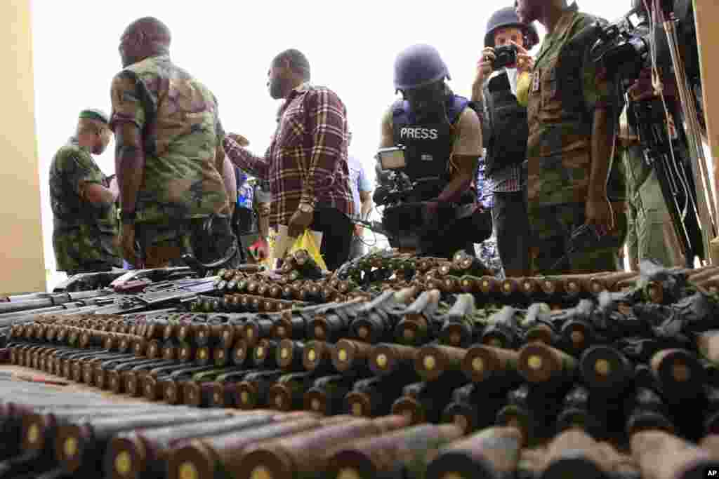 BOKO HARAM Nigerian military identified weapons taken from the Islamist militants in the country's northeast states in June, 2013. Experts see a possible spread of poaching-funded militia violence from groups like al-Shabab in the Horn of Africa to West Africa forces.