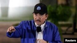 Nicaraguan President Daniel Ortega speaks during the opening ceremony for a highway overpass in Managua, Nicaragua, Nov. 29, 2018.
