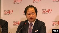 日本國際事務研究所主任小谷哲男2019年10月3日參加2049項目研究所美日台安全合作研討會(美國之音鍾辰芳拍攝)