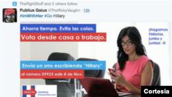 Este es uno de los avisos falsos en español que orienta a votar por HIllary Clinton a través de un mensaje de texto, algo que es imposible.