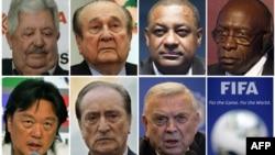 Các quan chức FIFA bị cáo buộc tham nhũng (từ trái sang phải phía trên xuống): Rafael Esquivel, Nicolas Leoz, Jeffrey Webb, Jack Warner, Eduardo Li, Eugenio Figueredo và Jose Maria Marin.