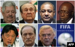 A combination of file pictures shows FiFA officials (LtoR, from upper row) Rafael Esquivel, Nicolas Leoz, Jeffrey Webb, Jack Warner, Eduardo Li, Eugenio Figueredo and Jose Maria Marin.