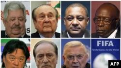 De gauche à droite et du haut en bas : Rafael Esquivel, Nicolas Leoz, Jeffrey Webb, Jack Warner, Eduardo Li, Eugenio Figueredo and Jose Maria Marin