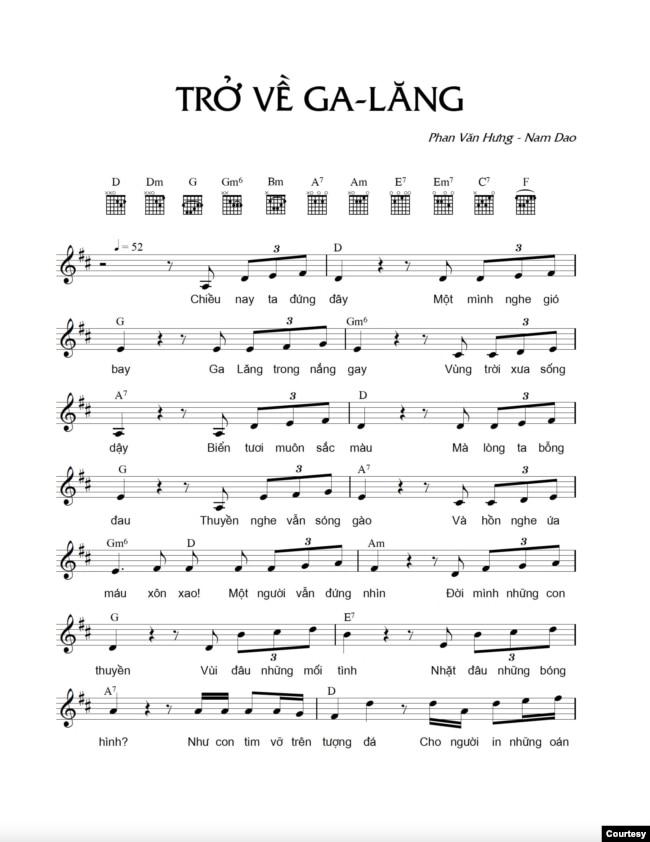Nhạc phẩm Trở về Galang, của Phan Văn Hưng - Nam Dao.