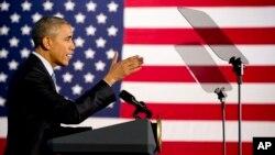 18일 미국 오하이오 주 클리블랜드 시에서 바락 오바마 대통령이 연설하고 있다.