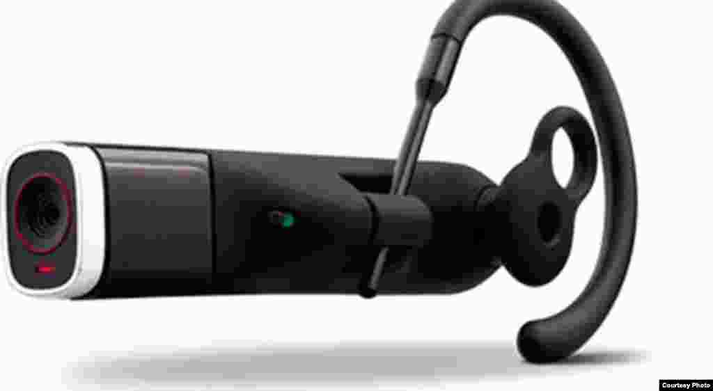 The Looxcie is a wearable camcorder that slips over the user's ear. It can be paired with an Android device via Bluetooth to send video clips and also serves as an earpiece for a phone.