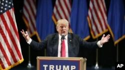 Kandidat Presiden AS Donald Trump berbicara di hotel dan kasino Treasure Island. Las Vegas, NV (Foto: AP Photo/John Locher)