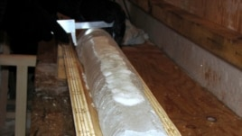 FILE - An ice core is seen at the Vostok camp in Antarctica in this April 5, 2010 handout photograph.