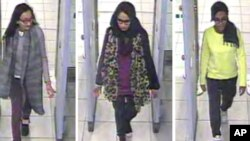 FILE - In this three image combo of stills taken from CCTV issued by the Metropolitan Police in London on Feb. 23, 2015, Kadiza Sultana, 16, left, Shamima Begum,15, center and 15-year-old Amira Abase going through security at Gatwick airport, before they