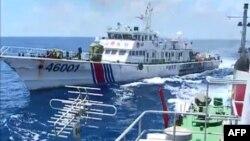 中國海警船6月1日在南中國海有爭議水域驅逐越南船隻 (視頻截圖)