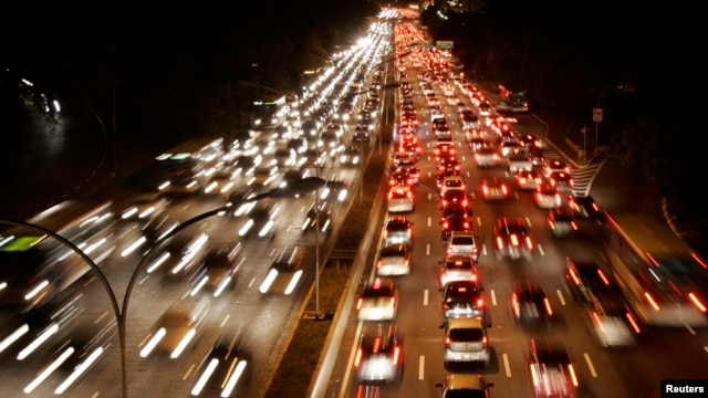 Brazil, with an 85 percent urban population, is making aggressive moves to implement public transport.  This photo shows a typical traffic jam in Sao Paulo.