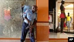 枪击事件发生后警察试图警戒出事的购物中心。