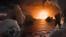 surface possible de TRAPPIST-1f, l'une des planètes nouvellement découvertes dans le système TRAPPIST-1.