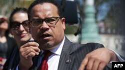 U.S. Representative Keith Ellison speaks during a news conference in front of the Supreme Court in Washington, April 13, 2016.
