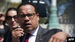 "FILE - U.S. Rep. Keith Ellison, a Minnesota Democrat, pictured at a news conference in Washington in April 2016, says ""the Muslim vote is crucial"" in many areas of the United States."
