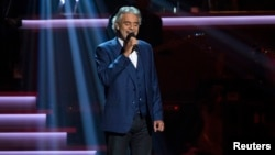 "Singer Andrea Bocelli performs ""I Just Called To Say I Love You"" during the taping of ""Stevie Wonder: Songs In The Key Of Life - An All-Star Grammy Salute"" concert at Nokia Theatre in Los Angeles, California, Feb. 10, 2015."