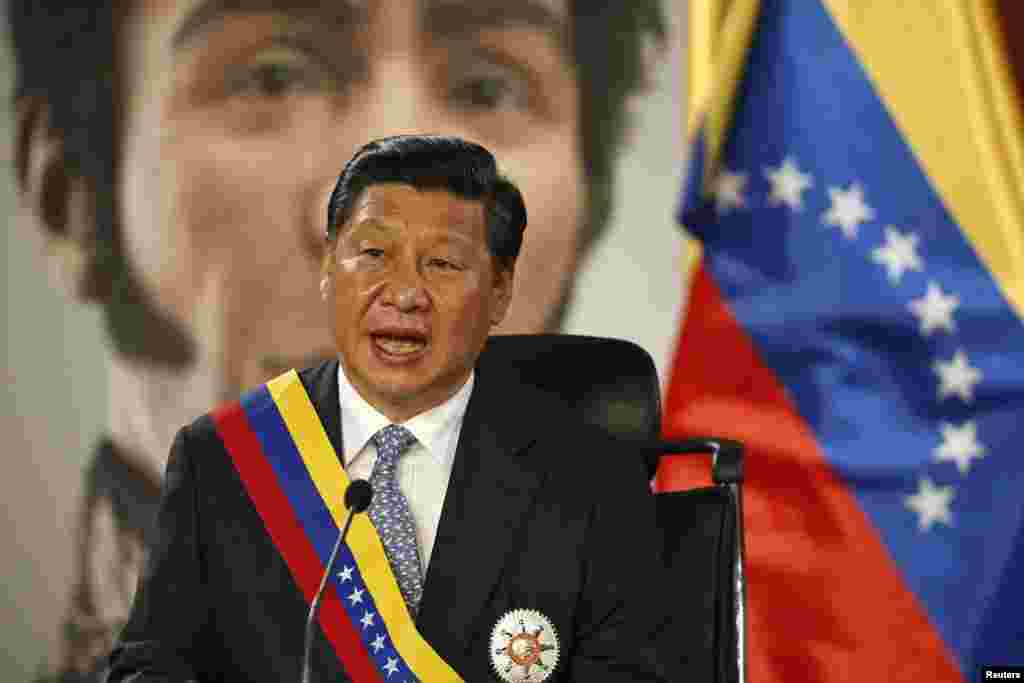 Chinese President Xi Jinping attends a meeting with Venezuelan President Nicolas Maduro (not pictured) at Miraflores Palace in Caracas, July 20, 2014.