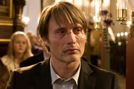 "This image released by Magnolia Pictures shows Mads Mikkelsen in a scene from ""The Hunt"" (Jagten)."