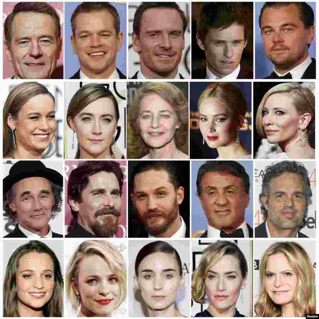 """2016年荣获奥斯卡提名的演员。从上到下,依次为最佳男主角,最佳女主角,最佳男配角,最佳女配角。第二排右起第二人为詹妮弗·劳伦斯。第一排左起第二人为本图片集下面要提到的迈特·戴蒙。右上角为本图集封面上的""""小李"""""""
