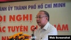 Ông Lê Đông Phong, Giám đốc Công an Tp. HCM phát biểu tại Hội nghị tuyên giáo hôm 10/1/2019. Photo Báo PLO.