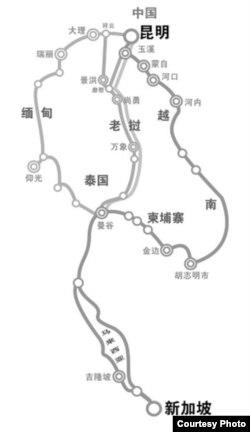 泛亚铁路的蓝图曾经先后出现过三个方案