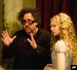 "Tim Burton, Mia Wasikowska on set of ""Alice in Wonderland"""