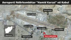 Harta e aeroportit të Kabulit në Afganistan, që tregon vendndodhjen e dy shpërthimeve