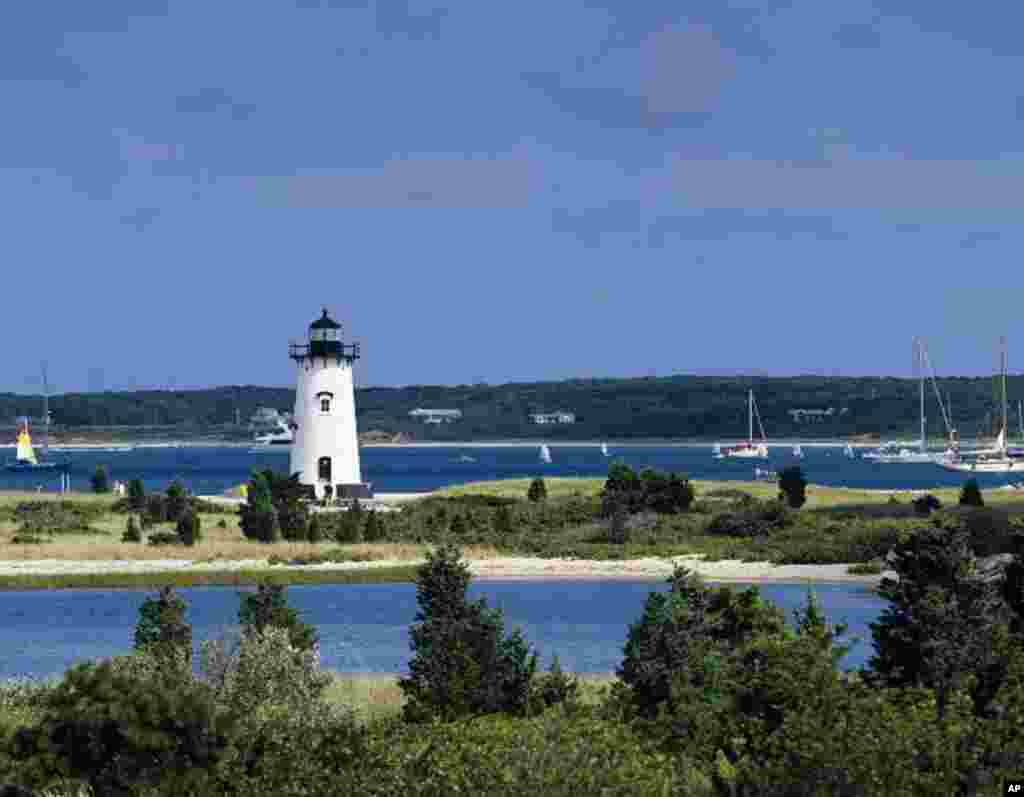 The Edgartown Light Station, on Martha's Vineyard in Massachusetts, was built in 1881.