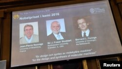Pictures of the winners of the 2016 Nobel Chemistry Prize: Jean-Pierre Sauvage, J Fraser Stoddart and Bernard L Feringa are displayed on a screen during a news conference by the Royal Swedish Academy of Sciences in Stockholm, Sweden, Oct. 5, 2016.