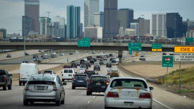 Traffic on Interstate 25 in Denver, Colorado, July 23, 2021.