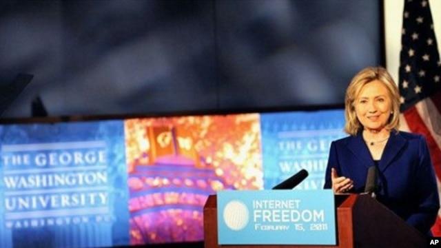 Secretary Clinton delivers remarks at George Washington University on Internet freedom, February 15, 2011