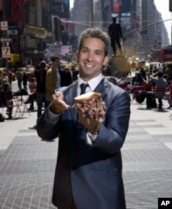'Delicatologist' David Sax, the author of 'Save the Deli,' is about to enjoy a pastrami sandwich in Times Square.