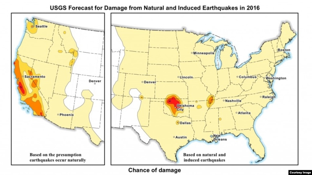 Usgs revises seismic risk map to include quakes caused by humans this usgs map displays the potential to experience damage from a natural or human induced gumiabroncs Gallery