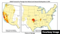 This USGS map displays the potential to experience damage from a natural or human-induced earthquake in 2016. Chances range from less than one percent to 12 percent. (USGS)